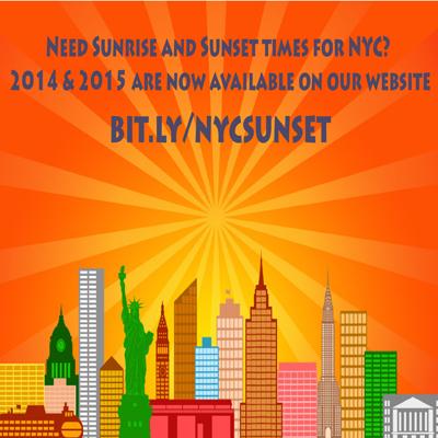 Sunset & Sunrise times for New York City